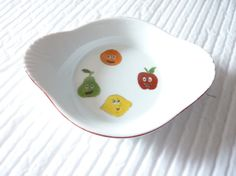 lot de 4 coupelles ovales 2 anses motifs les fruits