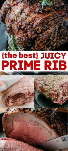 Juicy Prime Rib Recipe Prime Rib Recipe with step-by step instructions on how to prepare the juiciest prime rib with a garlic and herb rub. This is one show-stopping roast and it always gets rave revi Boneless Prime Rib Roast, Slow Roasted Prime Rib, Prime Rib Roast Rub, Rib Recipes, Roast Recipes, Cooking Recipes, Dinner Recipes, Salad Recipes, Recipies