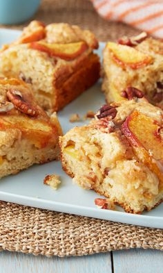 Ina Garten's Fresh Peach Cake Recipe Moist and tender vanilla cake is laced with juicy peaches and pecans in this summer dessert. Peach Cake Recipes, Pear Recipes, Dessert Recipes, Pear And Almond Cake, Almond Cakes, Pecan Cake, Eat Dessert First, Summer Desserts, Savoury Cake