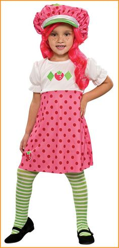 #883488 She'll be the perfect Strawberry Shortcake this Halloween. The Strawberry Shortcake Costume includes a dress with pink polka dot shirt with white design embellished shirt. The white and green