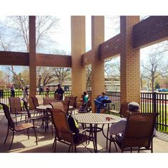 A view of the patio area outside the SCSU Library.