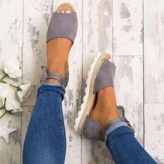 Ankle Tie Open Toe Espadrilles 4 Colors