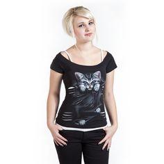 Cats & Fashion Bright Eyes - Camiseta Mujer por Spiral - Número Artículo: 219200 - desde $19.99 € - EMP Mailorder España:::La venta por correo y on line Rock Metal Punk: Camisetas, CD, DVD, Pósters, ropa e merchandise oficial