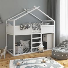 White Cabin Bed Frame With Stairs and Under Bed Storage