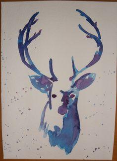 Deer Head  Antlers   Original Watercolour 5x7  by AllergicToApples, $20.00 Deer Head Tattoo, Head Tattoos, Fresh Tattoo, Examples Of Art, Creative Inspiration, Tattoo Inspiration, Watercolor Paintings, Watercolour, Beautiful Tattoos