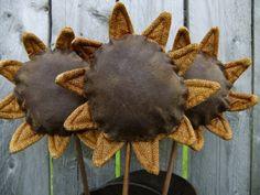 Primitive Sunflowers by TreasuredPrimitives on Etsy