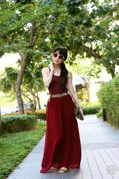 red dress, gold chain belt