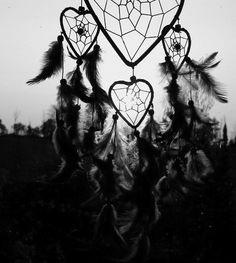 Amazing heart dreamcatcher black and white photography