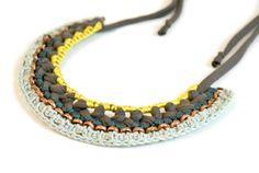 necklace grey jersey mint teal lemon yarn oxidised copper chain adjustable length. €79.00, via Etsy.