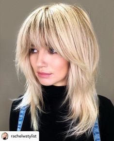 Medium Shag Haircuts, Shaggy Haircuts, Blonde Haircuts, Blonde Fringe Hairstyles, Medium Length Layered Hairstyles, Weave Hairstyles, Blonde Lob With Bangs, Mid Length Hairstyles, Blonde Hair With Fringe