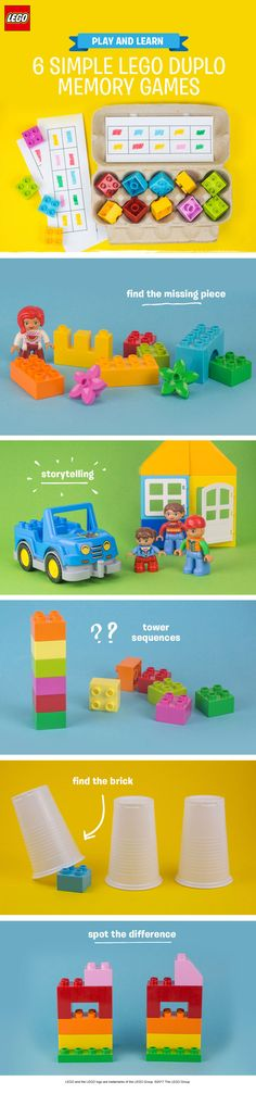 These simple memory games for pre-schoolers help your little one work on logic and problem solving, and even introduce early math concepts. To play all six games, all you need is: some LEGO DUPLO bricks, paper and pens, an egg box, and a few cups. See if your child can remember color orders in the tower sequences game, or test their short-term memory by playing 'find the brick'! They can also have fun matching the colors in the egg box, with a fun idea inspired by The Imagination Tree.