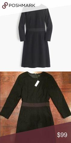 J Crew wool crepe dress $159 originally. Bracelet length zip sleeves with grosgrain waistband. Never worn. Size 10. Tags still on. J. Crew Dresses Long Sleeve