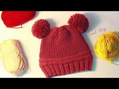 [Knitting] Little Red bonnet - Đan mũ bonnet cho bé 0~3Y - YouTube