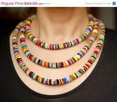 MOTHERS DAY SALE African Necklace Bead Crochet by HeriniaJewelry