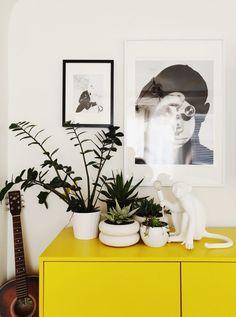 Boho Scandi Home Tour & Interview - Miquela Raiche - The Interior Editor Yellow Painted Furniture, Bohemian Decor, Boho, Scandi Home, Bold Wallpaper, Modern Style Homes, Colorful Interiors, Scandinavian Interiors, Scandinavian Style
