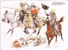 Sassanian Nomad Riders Sassanian Iranian and Hun Nomad Riders at a Roman Campaign L – R: Nomad Iranian Horse Archer, Chionite Hephthalite Horse Archer and Nomadic Standard Bearer Roman Legionnaire is dead on the ground! Historical Art, Historical Pictures, Military Art, Military History, Le Colonel Chabert, Persian Warrior, Friedrich Ii, Sassanid, Frederick The Great