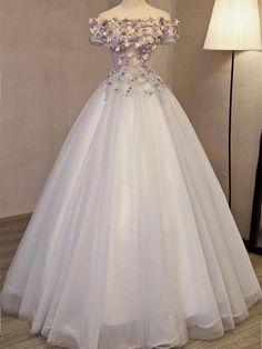 BohoProm prom dresses A-line Off-Shoulder Floor-Length Tulle Appliqued Beaded Pr. BohoProm prom dresses A-line Off-Shoulder Floor-Length Tulle Appliqued Beaded Prom Dresses Cute Prom Dresses, Ball Dresses, Pretty Dresses, Beautiful Dresses, Ball Gowns, Evening Dresses, Formal Dresses, Wedding Dresses, Cheap Dresses