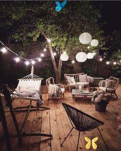 "Interior Design & Decor on Instagram: ""Cozy Porch by @marzena.marideko 😍"" Interior Design & Decor on Instagram: ""Cozy Porch by @marzena.marideko 😍""<br> Outdoor Deck Lighting, Outdoor Seating, Outdoor Dining, Outdoor Spaces, Outdoor Decor, Outdoor Lounge, Dining Table, Patio Plus, Terrace Garden Design"