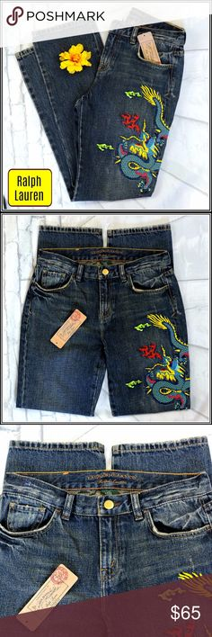 "Lauren Ralph Lauren Mustique Essex Jeans. NWT Really nice detail on these colorful embroidered Ralph Lauren jeans. Classic straight leg design. Waist width: 14"" Inseam: 28"" Fabric:100% cotton Condition: New with tags Lauren Ralph Lauren Jeans Straight Leg"