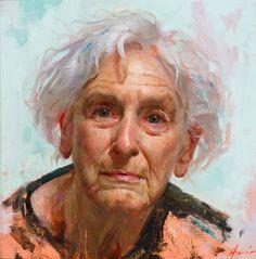 """""""JoAnn"""" - Jeff Hein (b. 1974), oil on linen, 2012 {figurative art female head elderly woman face portrait painting} jeffhein.com"""