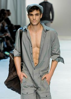 Jumpsuit on Julian Schratter at Dolce & Gabbana Spring'12. This look is so sexy. LOVE SALOPET