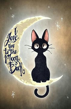 This is Jiji, the cat from Kiki's Delivery Service! I love this film! I love you to the moon & back by Tim Shumate <- His artwork is awesome! I Love Cats, Crazy Cats, Cute Cats, Funny Cats, Cats And Kittens, Cats Bus, Siamese Cats, Ragdoll Cats, Cute Animals