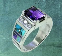 David Rosales Sterling Silver Inlay Ring with Turquoise, Sugilite, Created Opal, and Amethyst