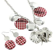 "$5.25 17"" Red Houndstooth Disk Elephant Necklace and Earring Set"