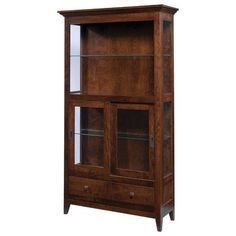 Amish Modern Farmhouse Curio Cabinet Furniture with farmhouse flair. This curio is custom built in choice of wood and stain. Adjustable glass shelves and touch lighting. Made in America. #farmhousefurniture #curio