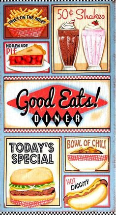 Fabric Panel Good Eats Diner Vintage Diner Signs Sixties Retro - product images of 1950 Diner, Vintage Diner, Shabby Vintage, Vintage Signs, Vintage Ideas, 1950 American Diner, American Dinner, Diner Menu, Diner Party