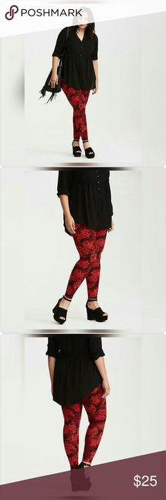 "NWT! Torrid Rose Print Full Length Leggings NWT!  Torrid size 2/2x (18W-20W)  ""Every rose has its thorn, but these full length leggings are crazy comfy, so maybe not. The top-to-bottom fit has a stretch waistband and a tapered leg; the look grows year-round with a black, burgundy and red rose print all over.   28"" inseam Cotton/spandex Wash cold, dry low"" torrid Pants Leggings"