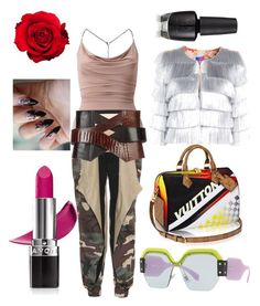 """Untitled #511"" by denis-bogdan-siminiuc on Polyvore featuring Miu Miu, Miss Selfridge, Vetements, Balmain, Louis Vuitton and Avon"