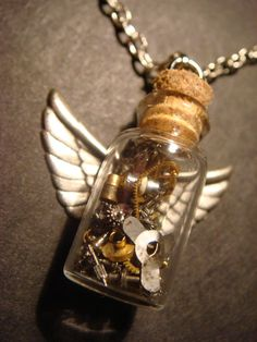 Steampunk Time in s Bottle Necklace with Wings by CreepyCreationz, $30.00