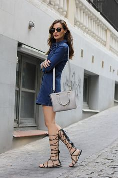 denim dress & gladiator sandals from Zara, bag Longchamp