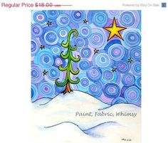 SALE Black Friday Month 8x10 Pine Tree by PaintFabricWhimsy