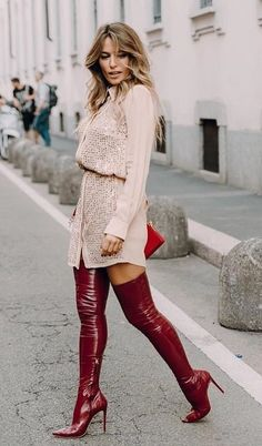 14 combination with red boots Thigh High Boots Heels, Stiletto Boots, Heeled Boots, Shoe Boots, Shoes, Look Fashion, Fashion Boots, Womens Fashion, Mode Outfits