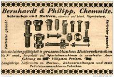 Original-Werbung/Anzeige 1903 - SCHRAUBEN UND MUTTERN / BERNHARDT UND PHILIPP / CHEMNITZ - ca. 90 x 60 mm