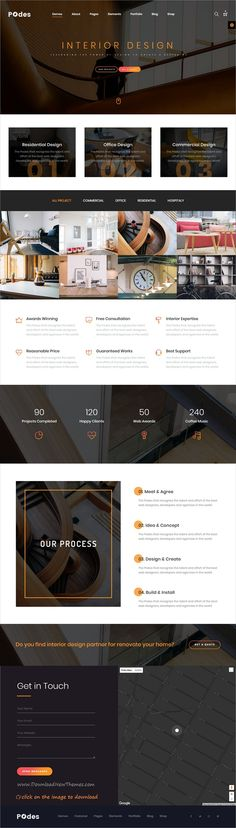 Podes is clean and modern design responsive bootstrap template for #interior #designers showcase website with 25+ multipurpose niche homepage layouts to download click on image.