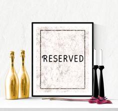 Reserved Wedding Sign Marble Design | https://www.vivabop.co.uk/products/reserved-wedding-sign-printable-marble-design