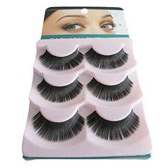 3 Pair Black Fiber Eyelash False Eyelashes(B-016)