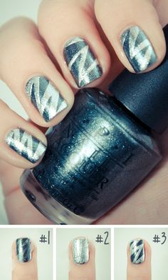 Scotch tape cut into points and used as a guide for fantastic zig-zag blue and silver nails!