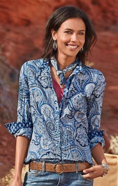 Add a measure of grace to laid-back looks with this lovely paisley button-up cotton shirt.