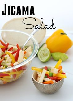 Jicama Salad is Mexican-inspired, refreshing, tasty and interesting! Sub xylitol (or a few drops of stevia) for the sugar in the dressing. Skip the oil for Phase 1, and use apple-cider or white-wine vinegar for Phase 2 (sub extra peppers for the carrots) and Phase 3.