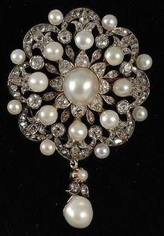 large Victorian natural pearl and diamond brooch /pendant gold on silver set 1870c