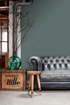 bol.com | ESTAhome behang effen denim jeans structuur vergrijsd groen - 148706 Chesterfield Chair, Accent Chairs, Couch, Denim Jeans, Prints, Furniture, Home Decor, Glamour, Homemade Home Decor