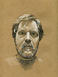 Paul Heaston self portrait on brown paper. Staedtler pigment liner, sakura gel pen on bogus rough sketch pad Paper Drawing, Painting & Drawing, Drawing Sketches, Art Drawings, Life Drawing, Sketching, Cross Hatching, Toned Paper, Ap Art