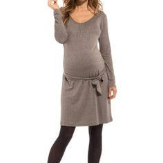 Maternity Dress Adorable maternity dress by French designer. Belt can be worn above or below bump, or not at all! Could wear even when not pregnant. Worn only once for my maternity photo shoot (third photo shown). Looks great with or without tights. Lightweight material. Taupe/brown in color. envie de fraises Dresses Long Sleeve