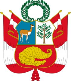 The coat of arms of Peru is the national symbolic emblem of Peru. Peru Map, Country Information, Inca Empire, Cradle Of Civilization, National Animal, Medieval, National Symbols, Small Leaf, Flag Decor