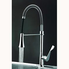 Contemporary Spring Kitchen Faucet with Color Changing LED Light At FaucetsDeal.com