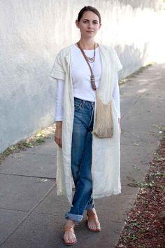 Kristen Caissie, florist Vintage Levi's 501s, Black Crane duster, Joie A La Plage sandals, Gap shirt.